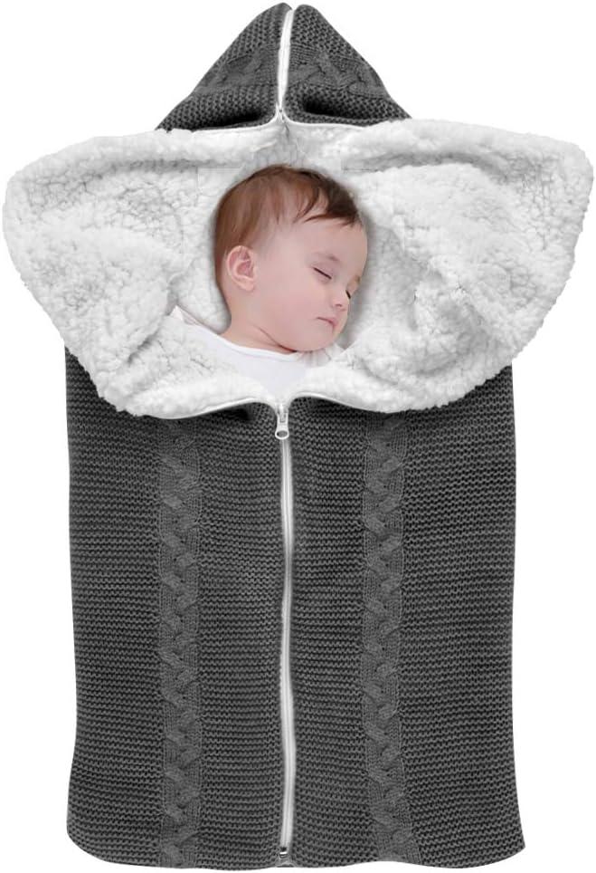 grigio THETHO Coperta per passeggino Coperta calda per neonato Sacco a pelo universale Coperta avvolgente con cerniera per neonati per passeggino