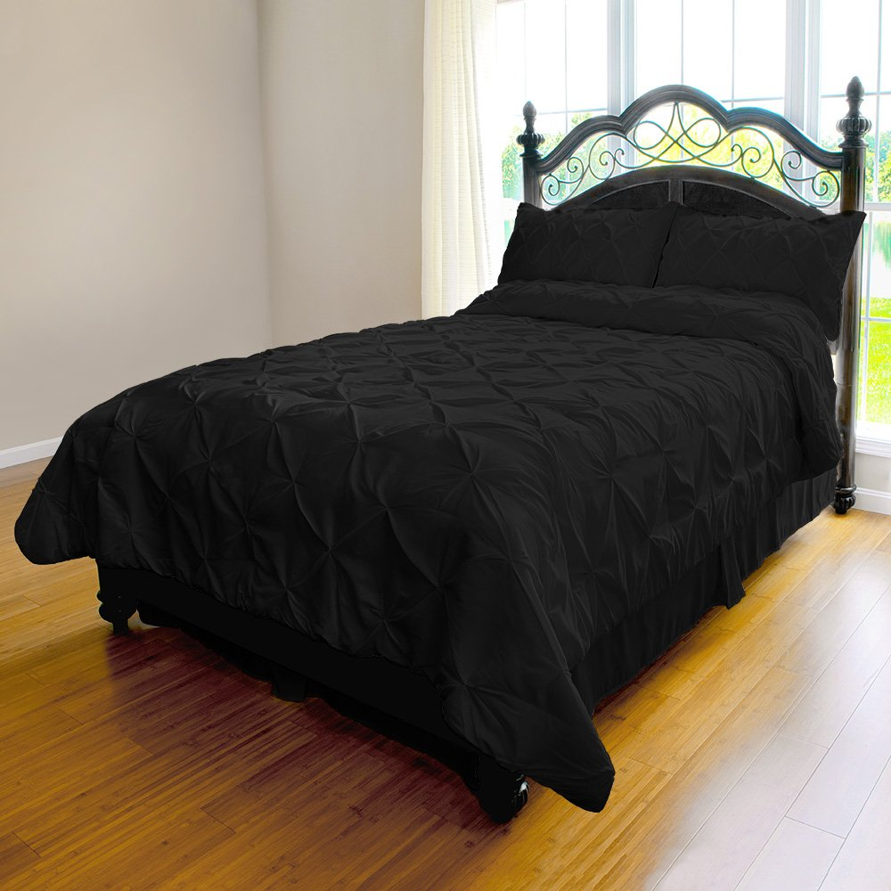 inch Pleat Duvet Cover - 2-Piece Microfiber Set by ExceptionalSheets, Twin/Twin XL, Black