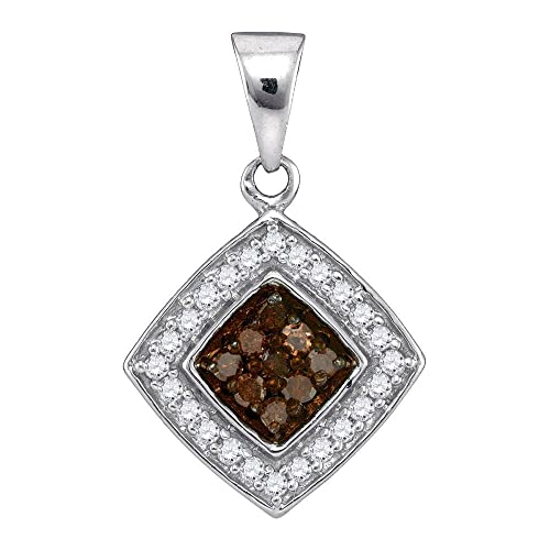 Sonia Jewels 10K White Gold Channel Set Chocolate Brown White Princess Square Halo Diamond Pendant Charm 1 4 cttw.