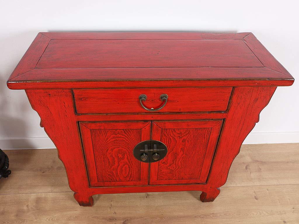 Yajutang - Cómoda China, 2 Puertas, 1 cajón, Color Rojo ...