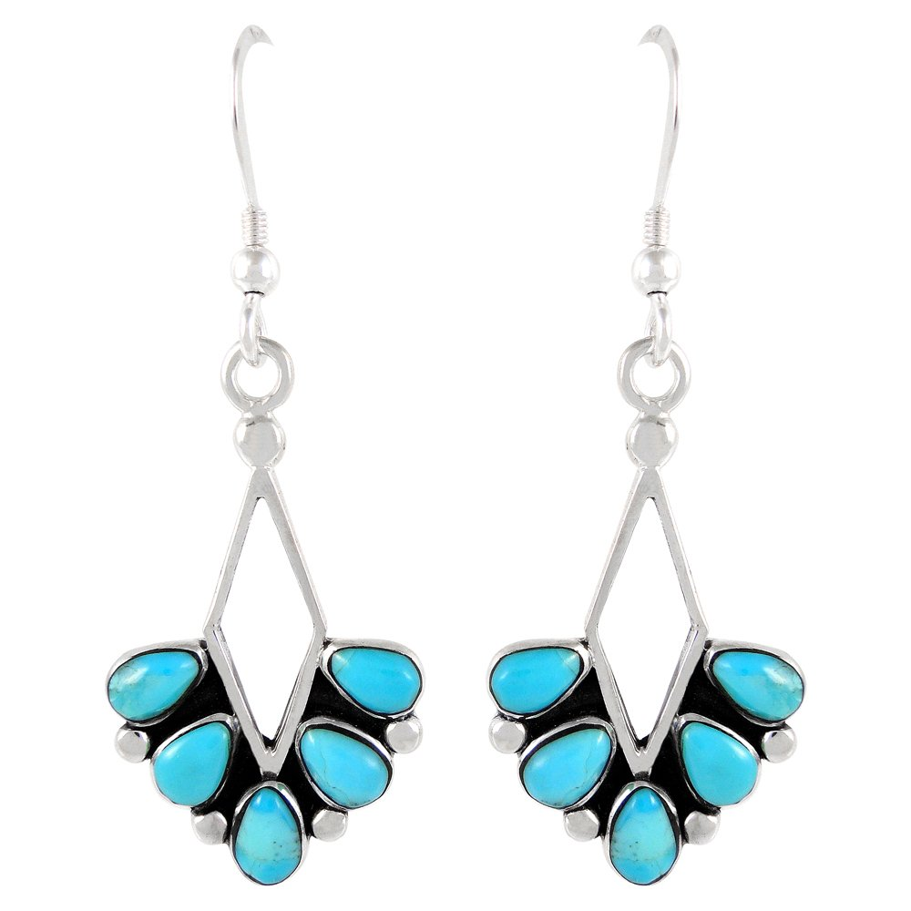 Turquoise Earrings 925 Sterling Silver & Genuine Turquoise (Dainty Dangles)