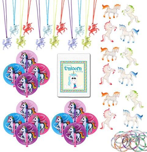 4 Person Themed Halloween Costumes (48 Piece Unicorn Theme Birthday Party Favor Bundle Pack for 12 Kids (12 Unicorn Figures, 12 Necklaces, 12 Glitter Bracelets, 12 Fans))
