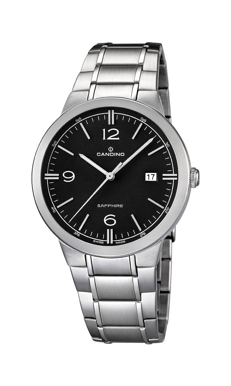 Candino Herren-Quarzuhr mit schwarzem Zifferblatt Analog-Anzeige und Silber Edelstahl Armband C4510-4