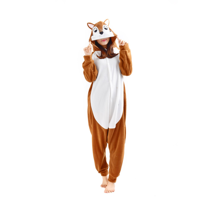 Casa Adult Hoodie - Pajamas Unisex Onesie Jumpsuit Playsuit All in One Piece Animal Kigurumi Chipmunk S-XL
