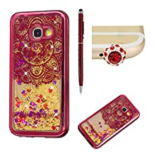 For Samsung Galaxy A5 2017 Liquid Case,For Samsung Galaxy A5 2017 Electroplate Frame Silicone,SKYXD Creative Colorful Glitter Flash Quicksand Soft Bumper Rubber Case Cover for Samsung Galaxy A5 2017+Stylus+Dust Plug,Red