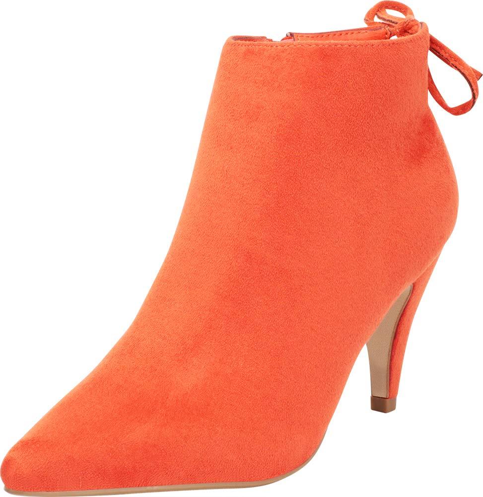 Cambridge Select Women's Pointed Toe Back Tie Mid Heel Ankle Bootie,8.5 B(M) US,Burnt Orange IMSU
