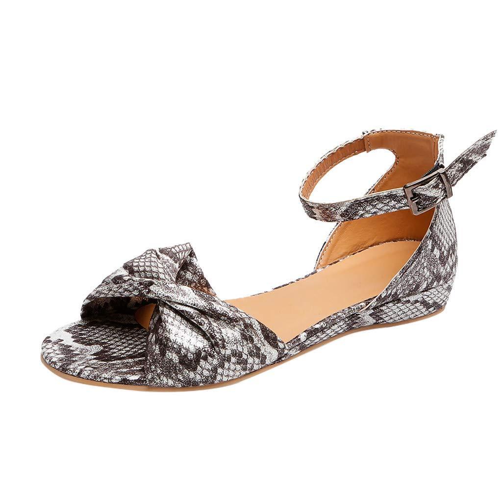 Women's Summer Bow Sandals Buckle Strap Open Toe Beach Breathable Leopard Flats Sandals Rome Shoes (Gray, US:7.5)