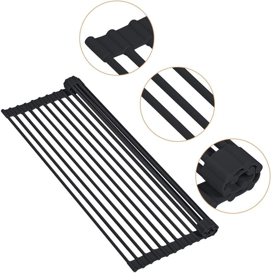 Hivexagon Escurridor de platos enrollable de acero inoxidable multiprop/ósito Estante de secado o platos y drenaje 20.5 x 13 Negro HG412