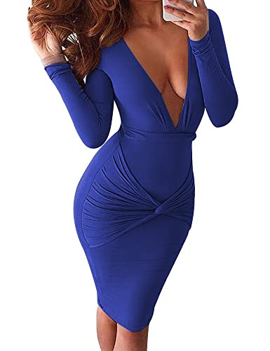 Allegrace Women Sexy Wrap V Neck Long Sleeve Stretch Bodycon Party Bandage Dresses