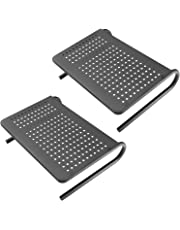 Monitor Stand Riser with Vented Metal for Computer, Laptop, Desk, iMac, Printer with 14.5 Platform 4 inch Height (Black, 2 Pack)