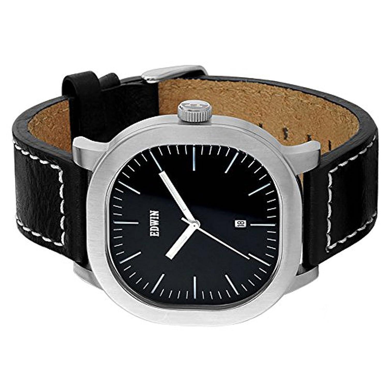 Edwin ew1g016l0024 Edelstahl schwarz Leder Band Schwarz Zifferblatt Armbanduhr