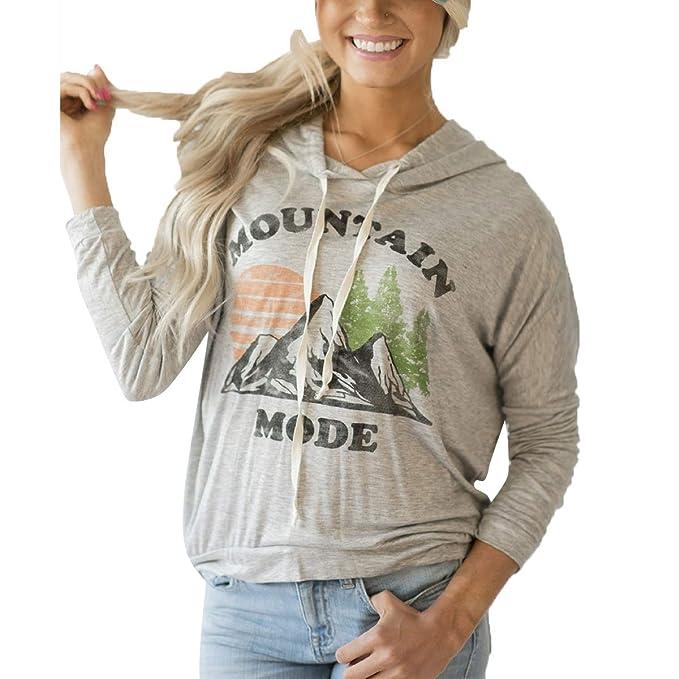 ZFFde Sudaderas con capucha mujer invierno MOUNTAIN MODE Sudadera con estampado gráfico y de letras Sudadera