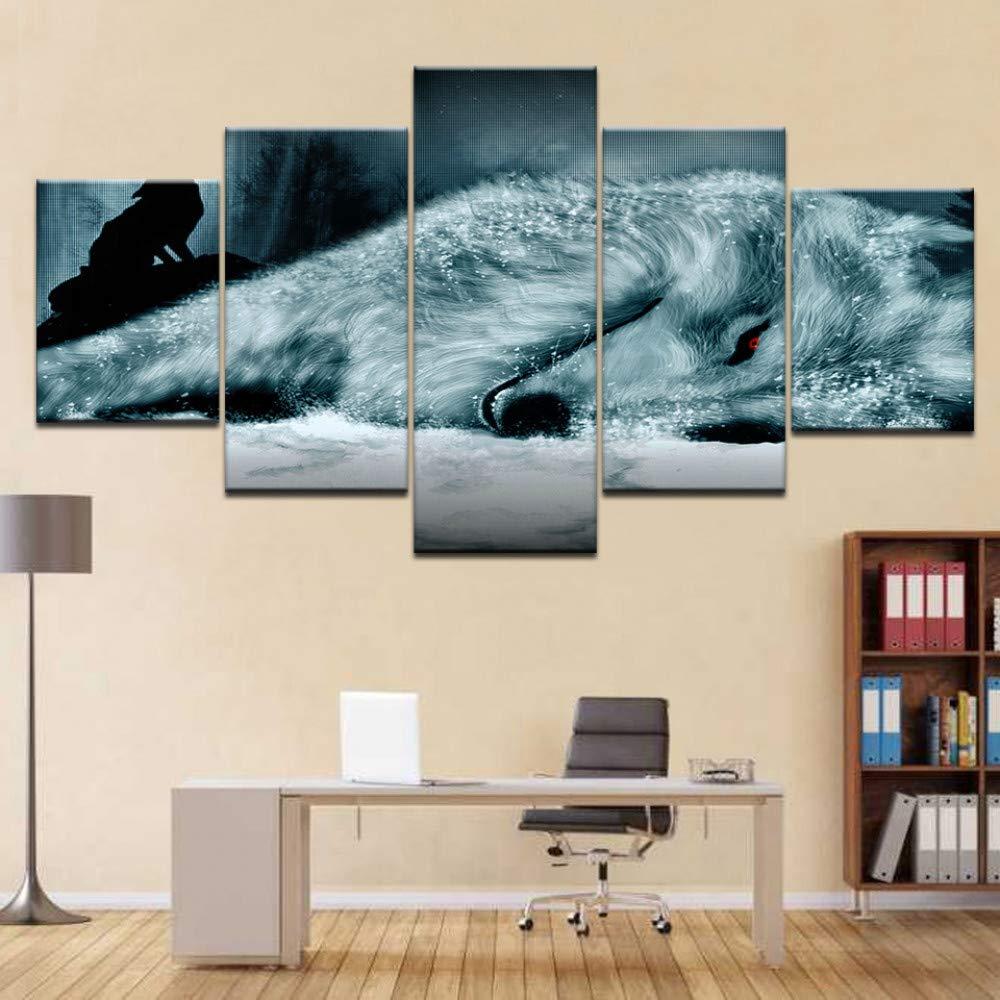 DYDONGWL Wall Art HD Prints Decoración del Hogar Unidades 5 Unidades Hogar Animal Wolf Pintura de la Lona Sala de Estar Modular Moderno Marco de Fotos Cuadros Cartel 4206b8