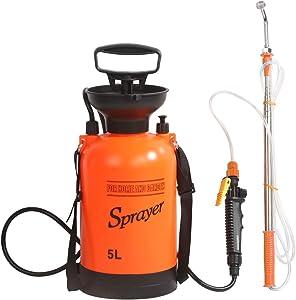 CLICIC 1.3 Gallon Pressure Sprayer Lawn Yard and Garden Sprayer, with 2 Kinds of Sprinkling Modes, Spray 16.4 Feet