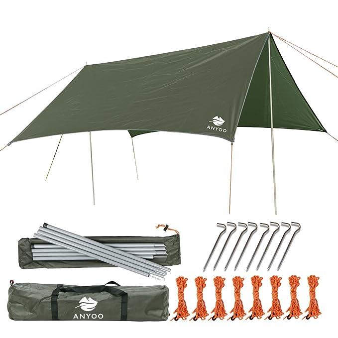 Anyoo Ripstop Rain Tarp Beach Tent Hammock Fly Sunshade 10×10 ft Lightweight Waterproof Shelter Camping Hiking Backpacking