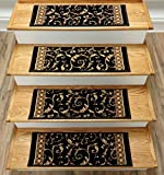179613 - Rug Depot Traditional Oriental Carpet Stair Treads - Set of 13 Stair Treads 26'' x 9'' - Black Background - 100% Polypropylene - Custom Made Stair Treads