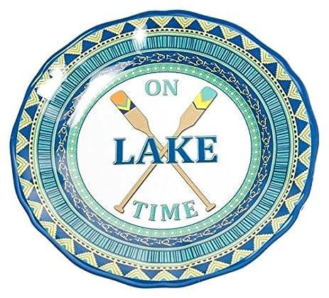 Amazon.com   Galleyware On Lake Time Melamine Non-Skid Dinner Plate ...