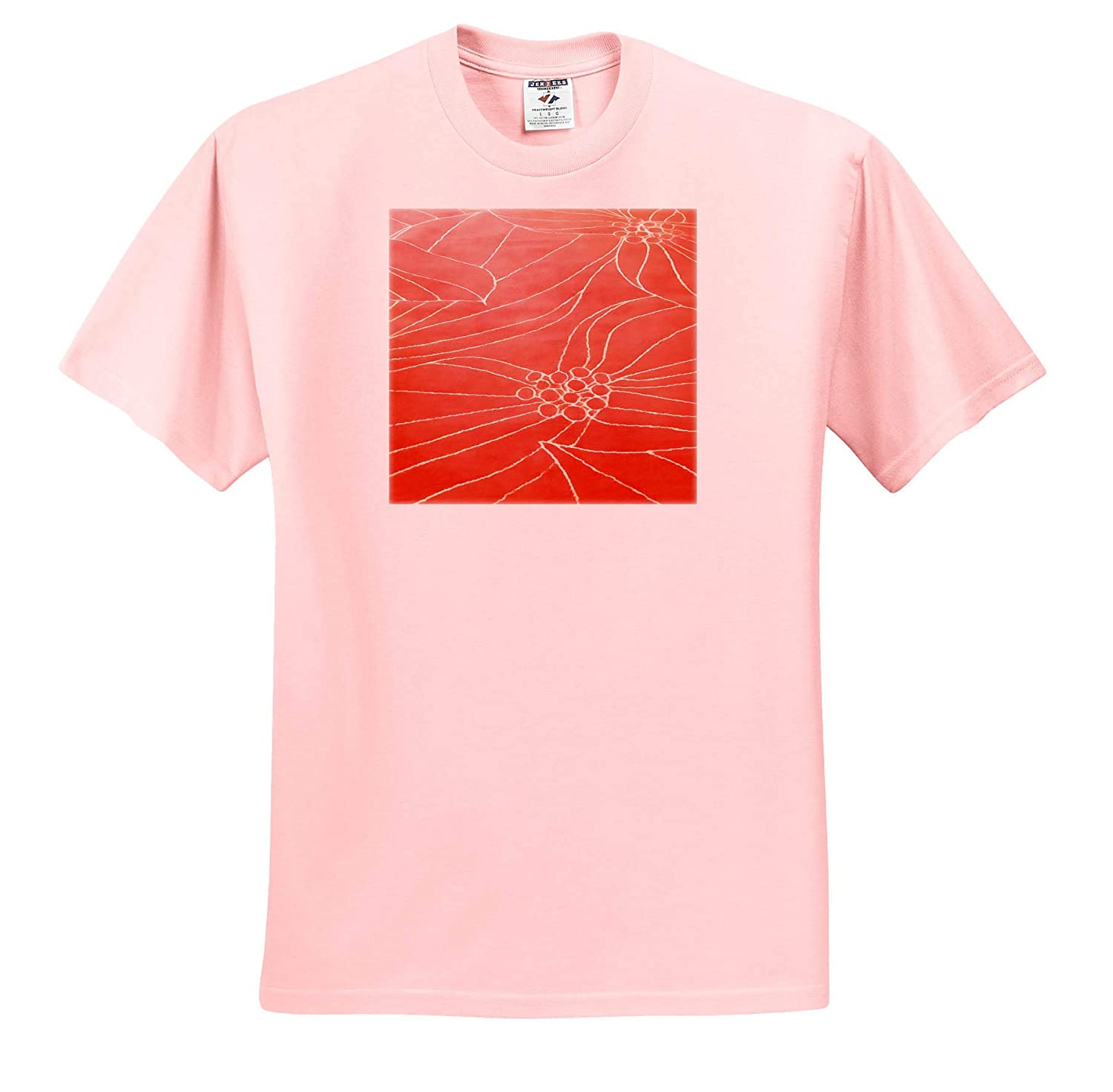 Acrylic Painting Abstract Poinsettia 3dRose Taiche Coral Christmas Poinsettia Holiday Flower T-Shirts
