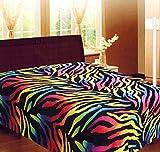 Rainbow Zebra Soft Fleece Blanket Queen Animal Print Microfiber Throw Cover