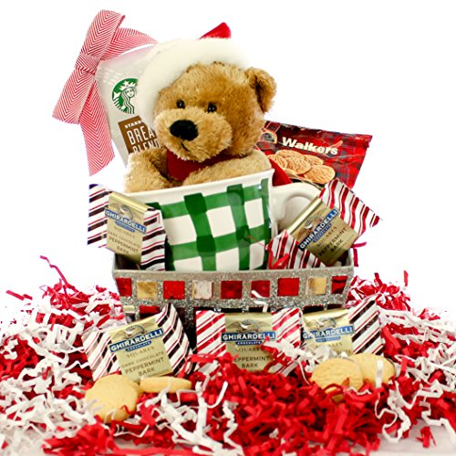 Starbucks Christmas Bear Glittery Gift Basket Happy Holidays