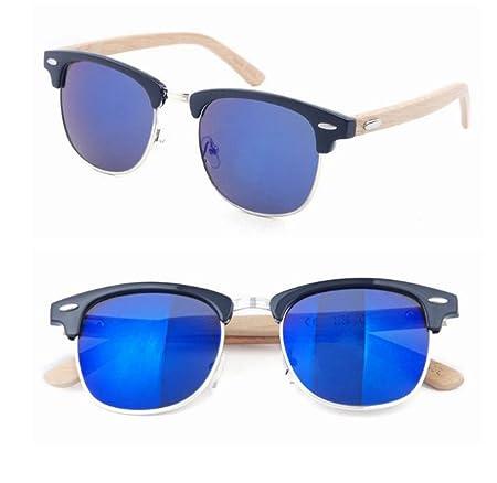 HAOYUXIANG Retro Metall Half Frame Bambus Füße Sonnenbrillen Bambus Beine Brillen Holz Spiegel Beine Sonnenbrillen,C3