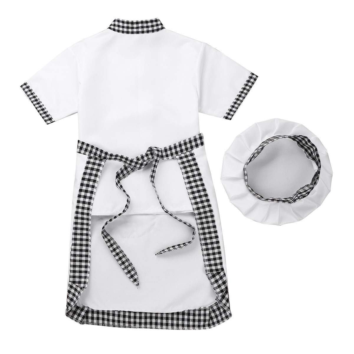 MSemis Child Boys Girls Halloween Chef Cosplay Costume with Apron and Chef Hat Outfits Set Fancy Dress Up