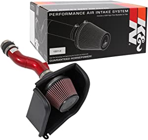 K&N Cold Air Intake Kit with Washable Air Filter: 2017-2019 Honda Civic Si, 1.5L L4, Polished Red Finish with Red Oiled Filter, 69-1504TR