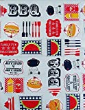 """Family Fun BBQ Vinyl Flannel Back Tablecloth (60"""" Round)"""