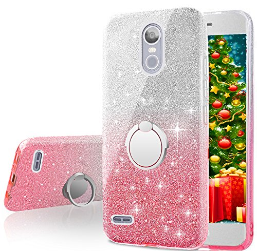 buy online 82e1f e9783 LG Stylo 3 Case,LG Stylo 3 Plus Case, Silverback Girls Bling Glitter  Sparkle Cute Phone Case With 360 Rotating Ring Stand, Soft TPU Outer Cover  + Hard ...