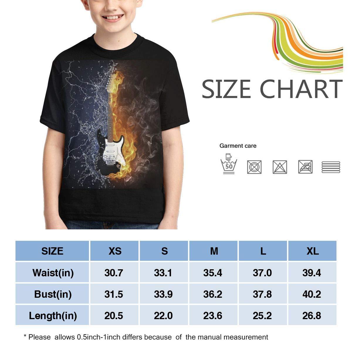 HHTZTCL Water Fire Guitar Kids Print Graphic Tee Short Sleeve T-Shirt