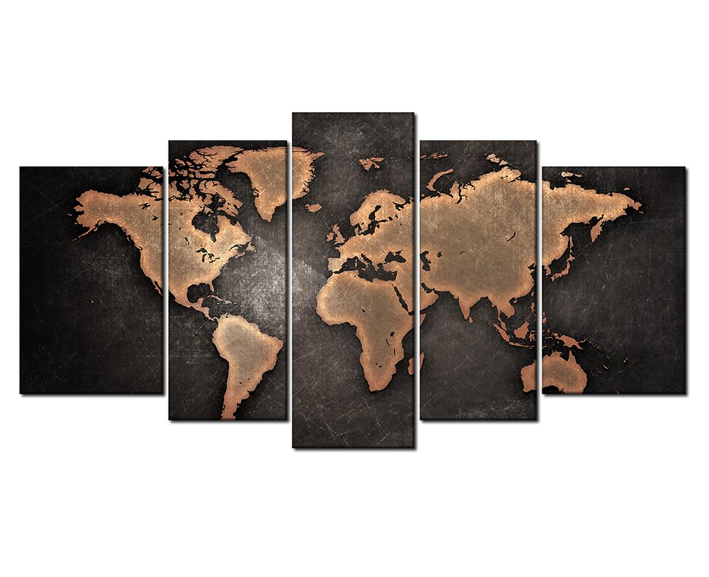 5 Pieces Still Life General Orange World Map Metalic Black Background Painting Pictures Print On Canvas Wooden Framed Home Decoration by uLinked Art
