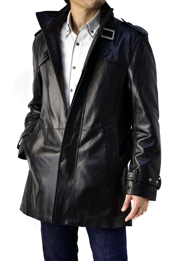 (フラグオンクルー) FLAG ON CREW レザーコート メンズ 本革 コート ラム トレンチコート シングル 大きいサイズ/K4B B01MD1M1TZ M|nakedblack nakedblack M