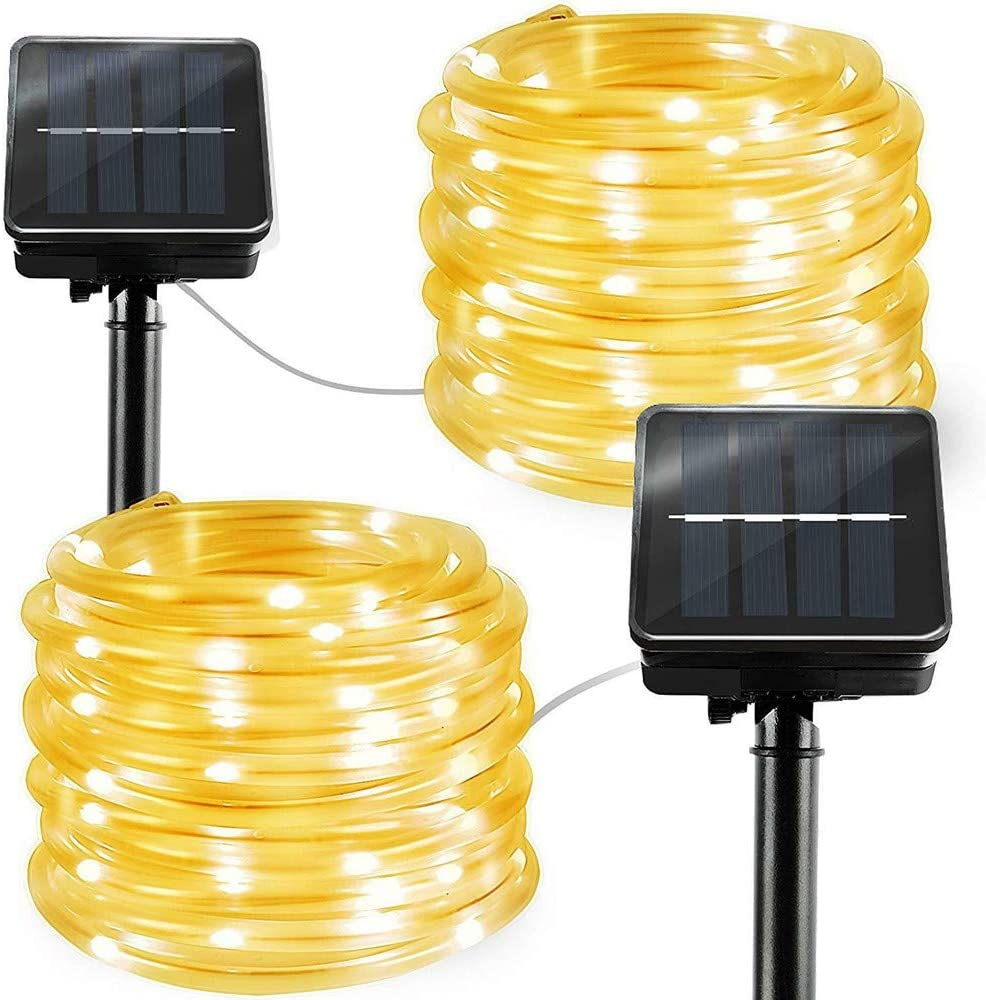 Solar String Lights Outdoor Rope Lights, 2 Pack 8 Modes 100 LED Solar Powered Outdoor Waterproof Tube Light Copper Wire Fairy Lights for Garden Fence Yard Summer Party Wedding Decor (Warm White)