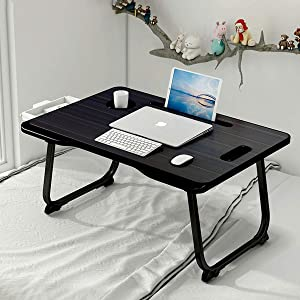 Laptop Desk for Bed, Foldable Laptop Bed Trays for Eating, Multi-Function Laptop Table with Storage Drawer, Bed Tray for Laptop, Writing, Eating Breakfast, Watching Movie on Bed/Sofa/Floor
