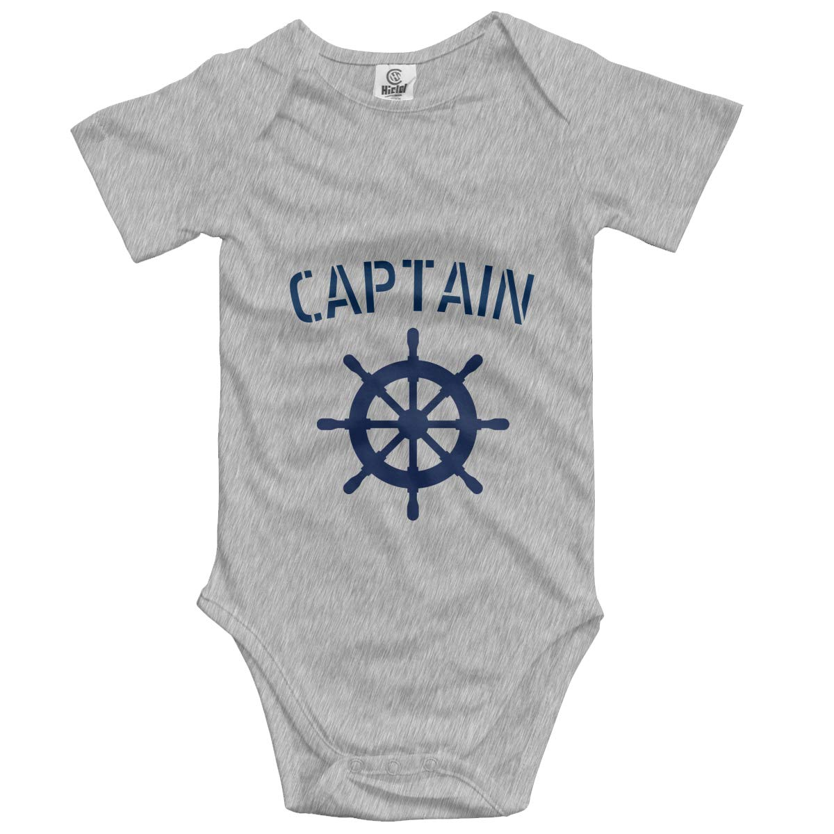 Nanagang Personalized Boat Captain Nautical Baby Short Sleeves Babyclothes Simple Gray