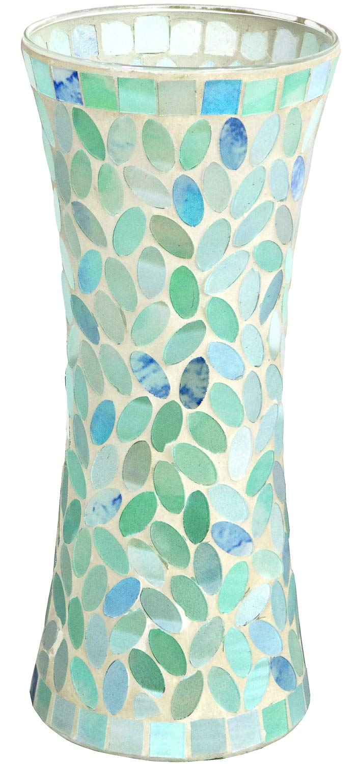 "Galashield Ceramic Mosaic Glass Vase for Flowers 11.8"" Tall"