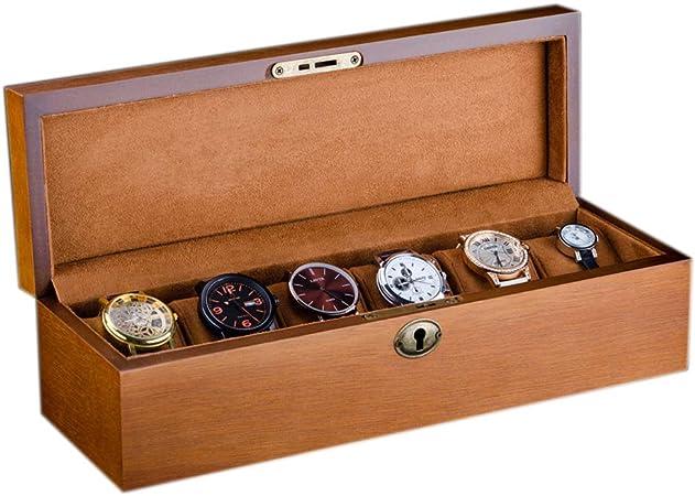 Vintage Caja de Reloj para 6 Relojes Compartimentos de Madera para Hombre Mujer Caja de exhibición Caja de joyería con Ranuras Soporte de Exhibición Organizador Estuche: Amazon.es: Hogar