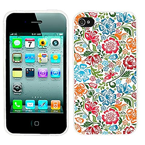 iPhone 4s Case, iphone4s case,iphone 4 case,iphone4 case, ChiChiC full Protective unique Stylish Case slim durable Soft TPU Cases Cover for iPhone 4 4g 4s,colorful red green sky blue flower on (Iphone 4 Case Artsy)