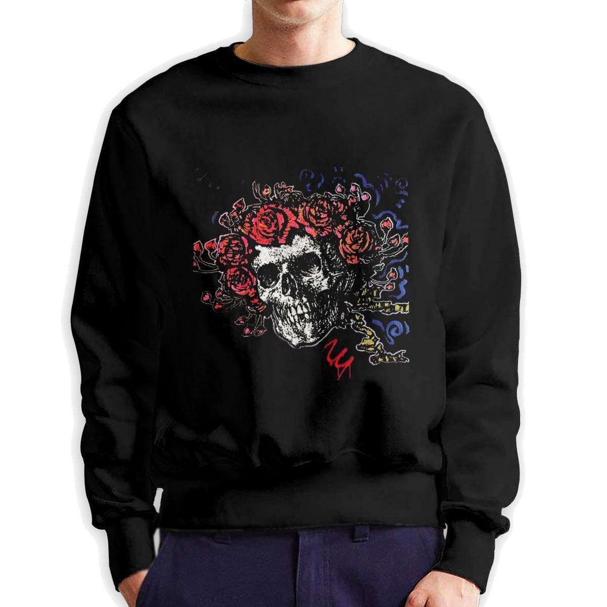 RUANJB Mens Bertha Skull Long Sleeve Crewneck Sweatshirt