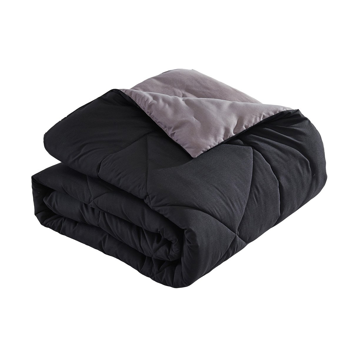 Word of Dream Reversible Quilted Down Alternative Microfiber Comforter in Full/Queen, Black Gray