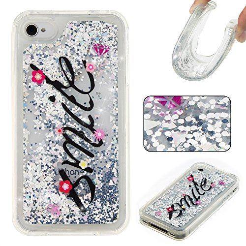 Design Silver Case Stars (Rosepark iPhone 4S Case, iPhone 4 Case, 3D Creative Design Luxury Bling Glitter Sparkle Liquid Glitter and Stars Moving Quicksand TPU Case for iPhone 4/4S(Smile&Silver))
