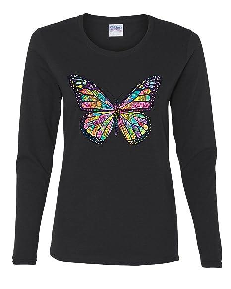 d5e3f59e Amazon.com: Dean Russo Butterfly Women's Long Sleeve Tee Multicolor Summer  Wings Monarch: Clothing