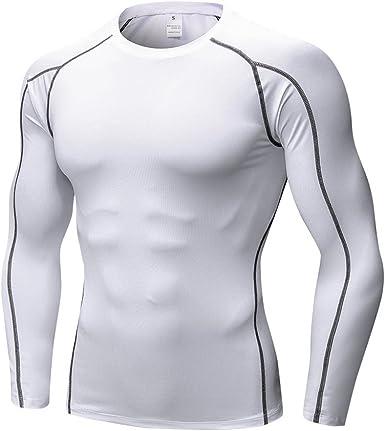 OEAK T Shirt Compression Homme Maillot Manches Longues Séchage Rapide Vetement de Fitness pour Football Jogging Cyclisme Running Course à Pied