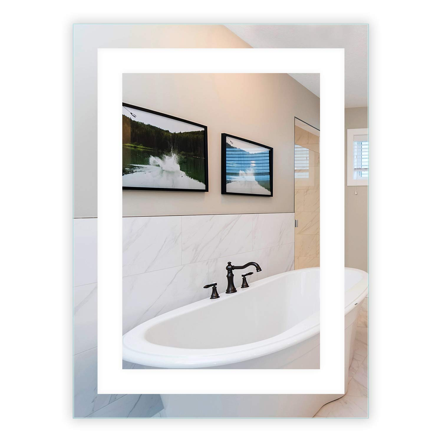 LED Front-Lighted Bathroom Vanity Mirror: 24'' Wide x 32'' Tall - Commercial Grade - Rectangular - Wall-Mounted by Mirrors and Marble