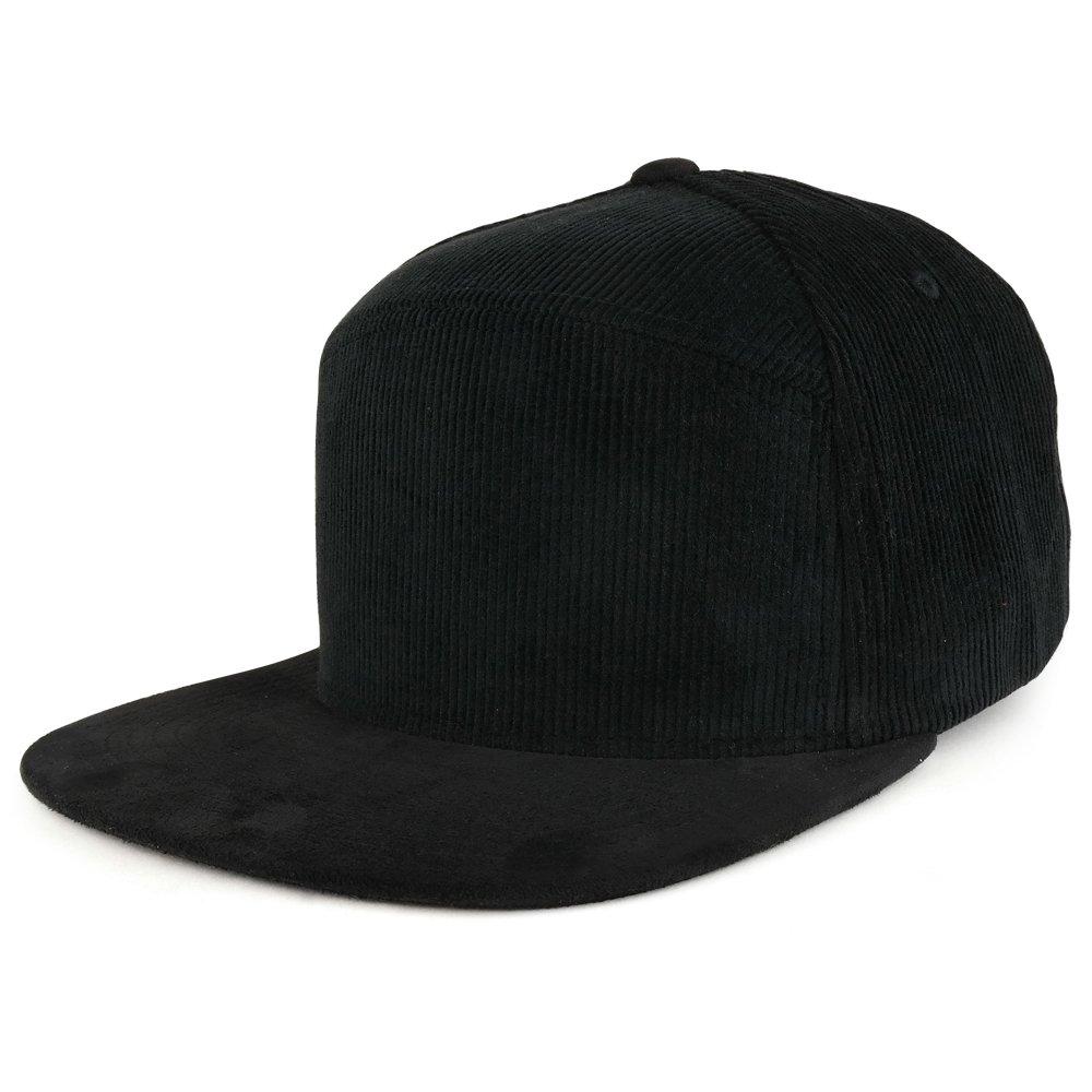 417ab4a0cf2 Trendy Apparel Shop Plain Corduroy Textured Suede Flat Bill Snapback Cap -  Black at Amazon Men s Clothing store