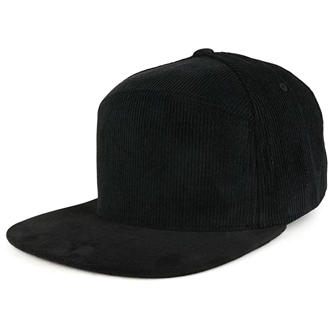 Trendy Apparel Shop Plain Corduroy Textured Suede Flat Bill Snapback Cap -  Black 966c141a4ff