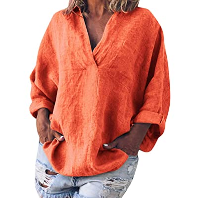 Aniywn Women V-Neck Linen Blouse T-Shirt Loose Solid Simple Pullover Top: Clothing