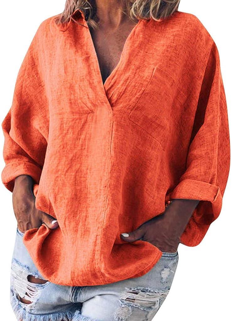 CAOQAO Ropa de Mujer Camisetas Verano 2019 Blusa Holgada de Manga Larga Boho de algodón de Lino Kaftan para Mujer