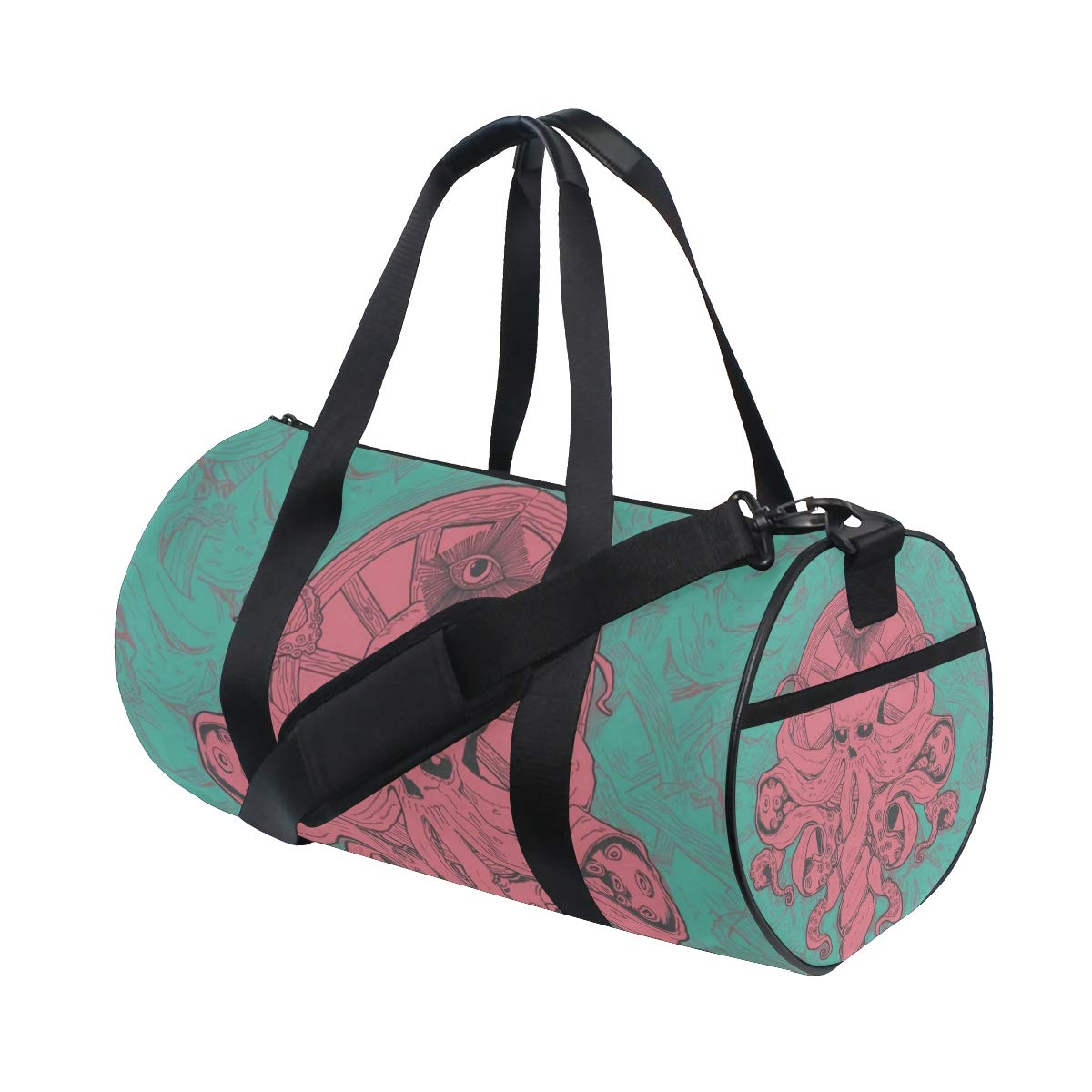 Travel Weekender Duffel Bag for Man and Woman Gym Bag with Traditional Octopus Turquoise Print