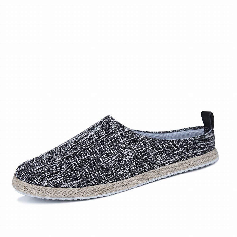 Fuxitoggo Männliche Grobe Schuhe Der Schuhe Der Einfachen Schuhe Der Strohhalm-Männer Der Einfachen Halb Leichten (Farbe   Schwarz, Größe   39)